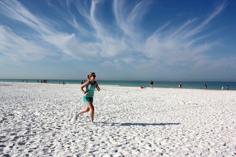 Running on a Siesta Key Florida beach
